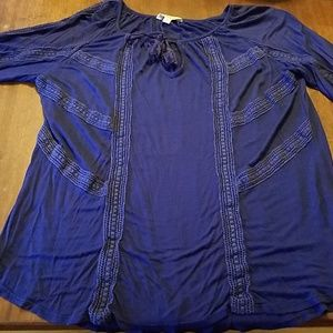 Lucky Brand knit top with crochet lace detail